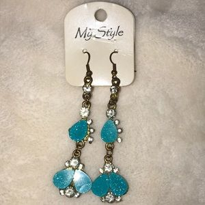 Blue Sparkly Earrings